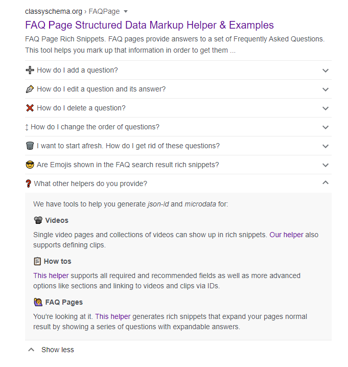 FAQ page rich snippet in a Google search result